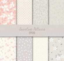 Pink Grey Seamless Patterns