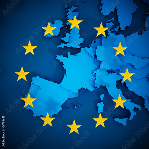 Foto  European Union map and aligned stars in circle shape forming a flag