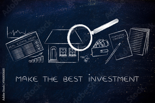 Fotografía  house, real estate data and contract, make the best investment