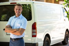 Handyman Standing Near His Delivery Van
