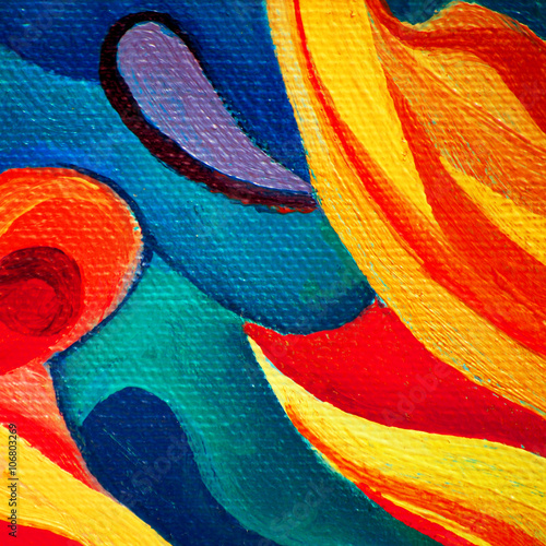 abstract painting by oil on canvas for interior, illustration