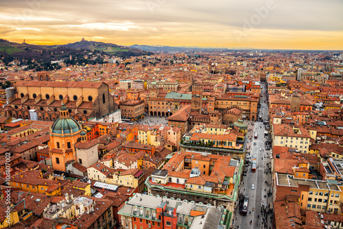 Fotografie, Tablou Aerial view of Bologna, Italy at sunset