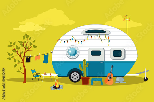 Fotografie, Obraz Cartoon travelling scene with a vintage camper, a fire pit, camping table and la