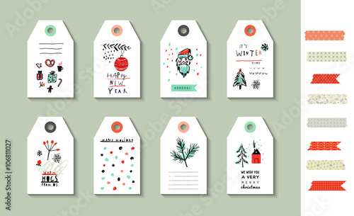 Fototapety, obrazy: Collection of party hand tags. Cute decorative hand drawn set