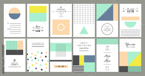 Photo  Collection of universal cards. Templates with geometric shapes
