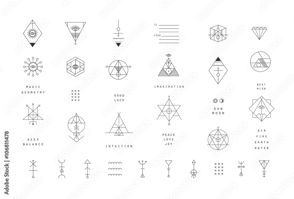 Fototapety, obrazy: Set of vector trendy geometric icons. Alchemy symbols collection