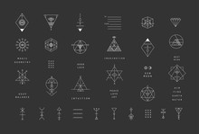 Set Of Vector Trendy Geometric Icons. Alchemy Symbols Collection