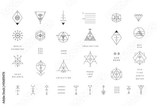 Obraz Set of vector trendy geometric icons. Alchemy symbols collection - fototapety do salonu