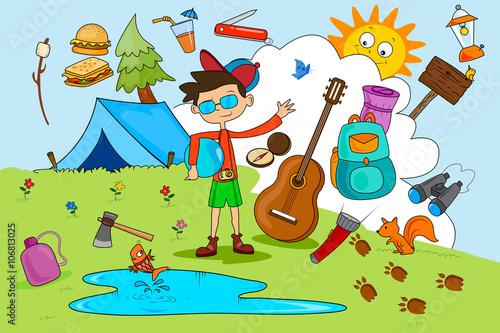 Deurstickers Magische wereld Children enjoying summer camp activities