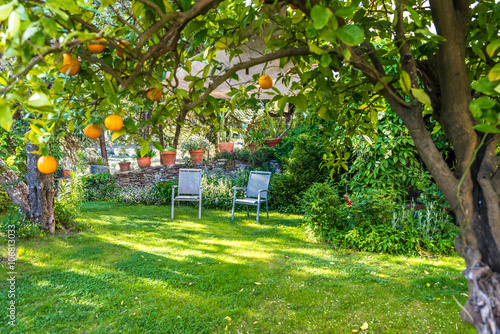 Poster Jardin Relaxing in beautiful garden with Chairs