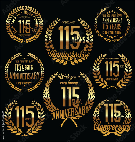 Tela  Golden Anniversary Labels with retro vintage styled design 115 years