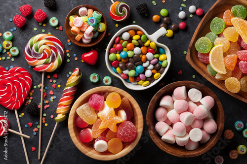 Aluminium Prints Candy Colorful candies, jelly and marmalade