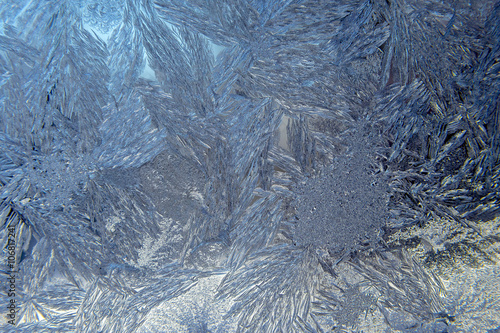 Foto op Canvas Paardebloemen en water Closeup view of Frost on Winter Window