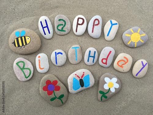 Happy Birthday with stones design composition