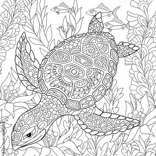 Fototapeta premium Zentangle stylizowany rysunek żółwia pływającego wśród alg morskich. Ręcznie rysowane szkic dla dorosłych kolorowanki antystresowe, godło T-shirt, logo lub tatuaż z doodle, zentangle, kwiatowy wzór elementów.