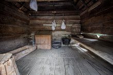 One Room Shack.  Interior Of A One Room Pioneer Cabin Located In The Great Smoky Mountains National Park. Gatlinburg, Tennessee.