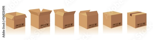Obraz Open and closed recycle brown carton delivery packaging box with fragile signs. Collection vector illustration isolated box with shadow on white background for web, icon, banner, infographic - fototapety do salonu