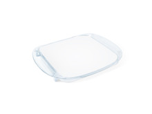 Plastic Tip Tray With Blank Paper Mockup Isolated On White. Clear Sheet Mock Up In Acrylic Transparent Coin Holder. Change Plate For Store Branding. Shop Identity Odd Money Tray. Plain Cash Tray.