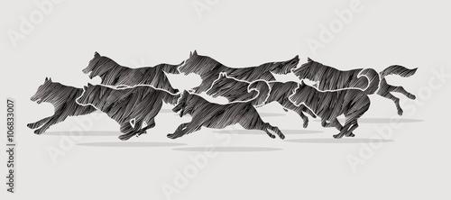 Photo Dogs running designed using black grunge brush graphic vector.