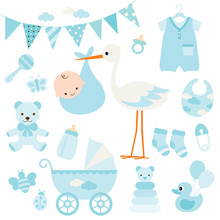 Vector Illustration For Baby Boy Shower And Baby Items.