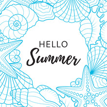 Summer Background With Seashells And Starfishes. Abstract Vector Summer Background On A Sea Subject. Vector Illustration.