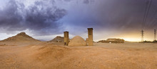 Towers Of Silence In Yazd, Iran At Sunset
