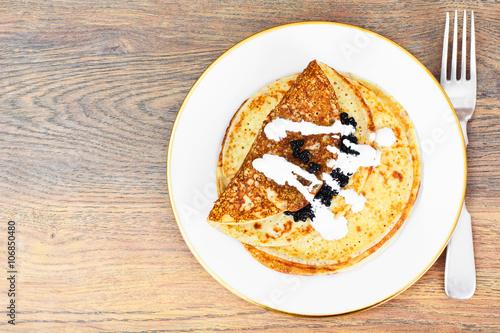 Fototapety, obrazy: Pancakes with Black Caviar