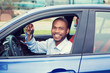 happy, smiling, young man, buyer sitting in his new blue car showing keys