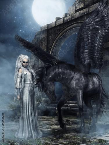 Czarny koń ze skrzydłami i księżniczka elfów na tle ruin zamku