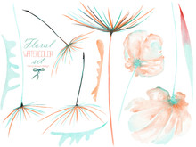 Set, Collection With The Watercolor Pink And Mint Flower Elements And Dandelion Fuzzies, Isolated Hand Drawn On A White Background