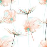 Kwiatowy wzór z akwarela różowe i miętowe kwiaty powietrza i fuzzies mniszka lekarskiego, ręcznie rysowane na białym tle - 106864400