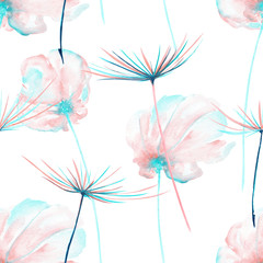 Fototapeta Dmuchawce Seamless floral pattern with the watercolor pink and mint air flowers and dandelion fuzzies, hand drawn on a white background