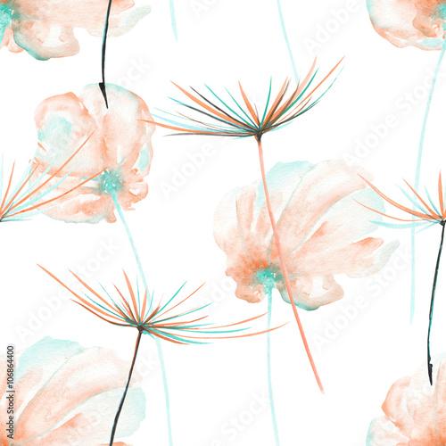bezszwowy-kwiecisty-wzor-z-akwareli-rozowymi-i-nowymi-lotniczymi-kwiatami-i-dandelion-fuzzies-reka-rysujaca-na-bialym-tle