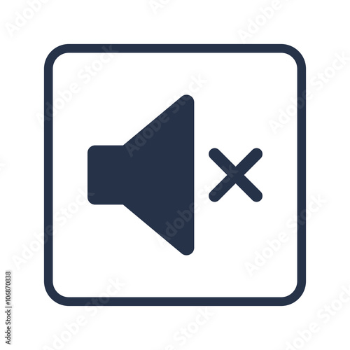 Volume mute icon, on white background, rounded rectangle