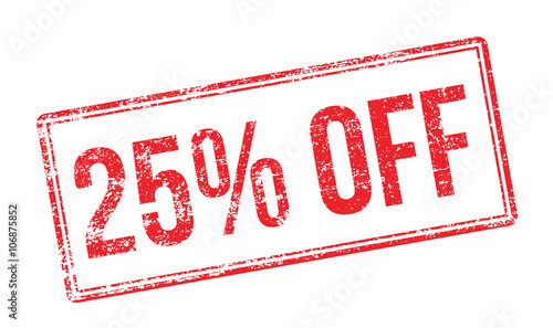 Fotografering  25% OFF red rubber stamp on white