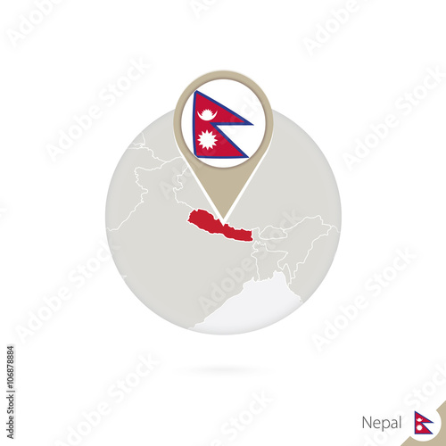 Nepal map and flag in circle. Map of Nepal, Nepal flag pin. - Buy ...