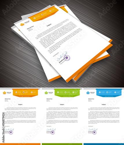Fototapeta Letterhead.File contains text editable AI, EPS10,JPEG and free font link used in design. obraz