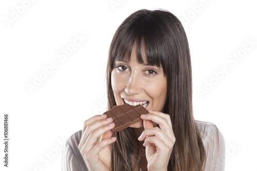 Woman Eating Chocolate Beautiful Girl Biting A Chocolate Bar