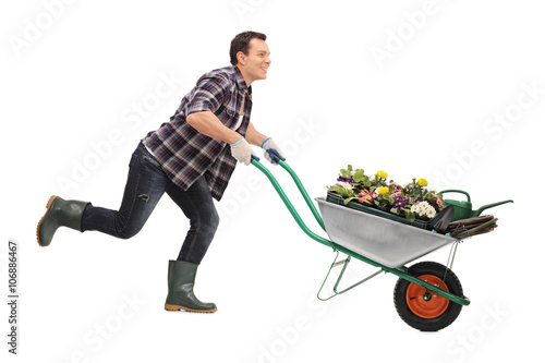 Gardener pushing a wheelbarrow full of flowers Wallpaper Mural