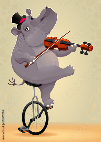 Poster Chambre d enfant Funny hippo on an unicycle