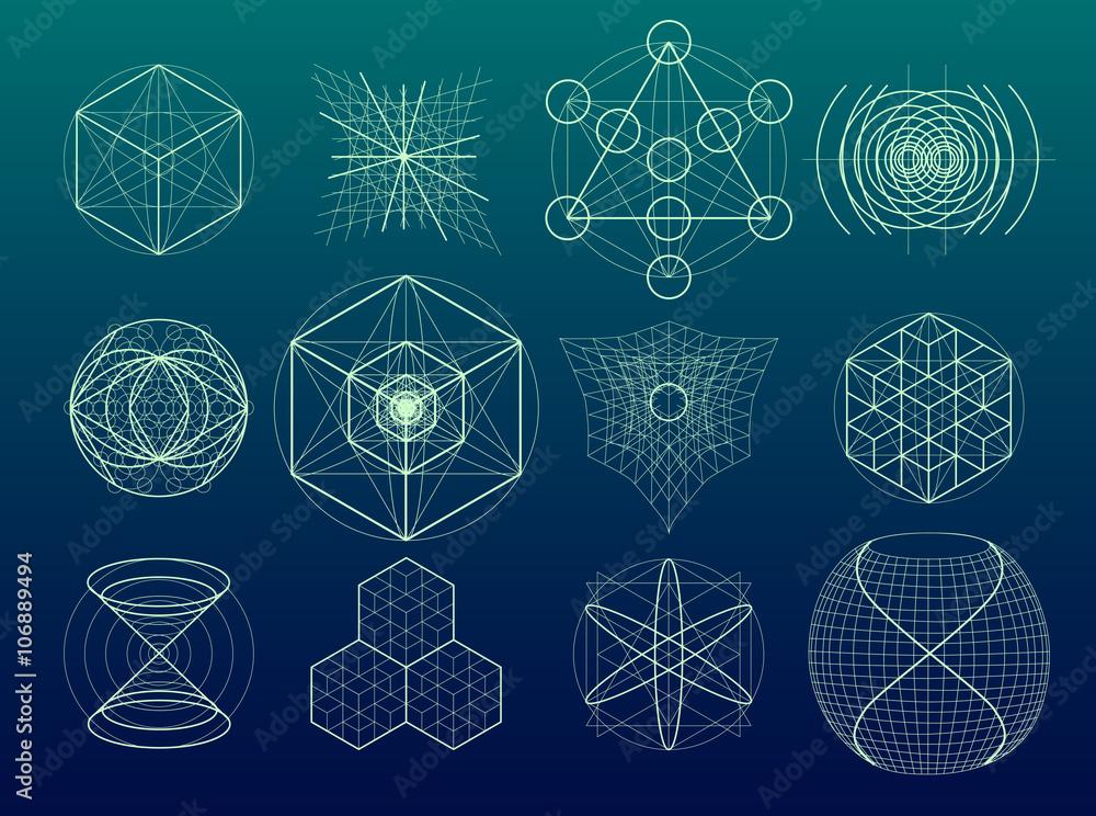 Fotografie, Obraz Sacred geometry symbols and elements set