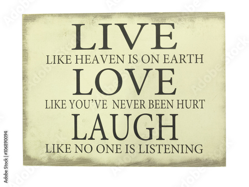 Plate with inscription Live,  Love, Laugh. Canvas Print