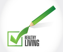 Healthy Living Check Mark Sign...
