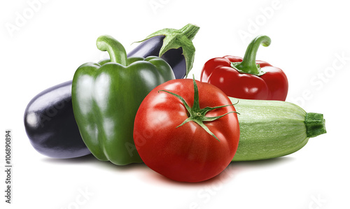 Photo  Vegetable eggplant, squash, tomato, zucchini isolated on white b