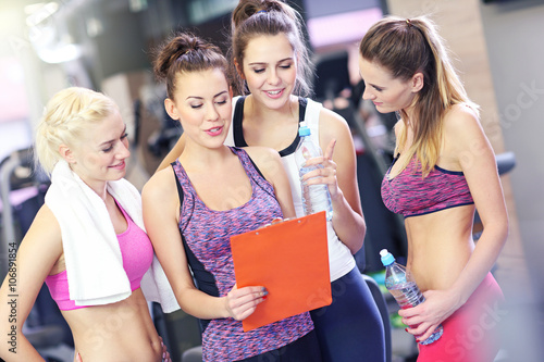 Group of women with personal trainer