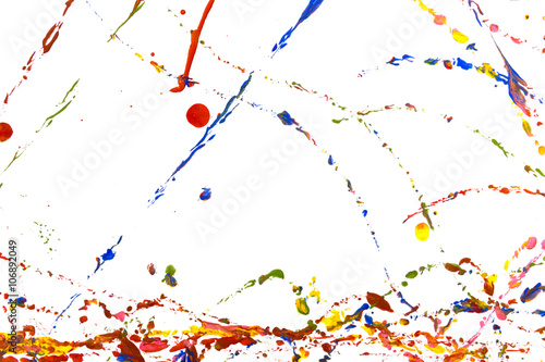 Foto op Canvas Bloemen vrouw Colored paint splash, isolated on white background
