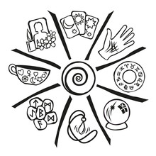 Psychic Circle Showing Nine Types Of Psychic Reading In Black