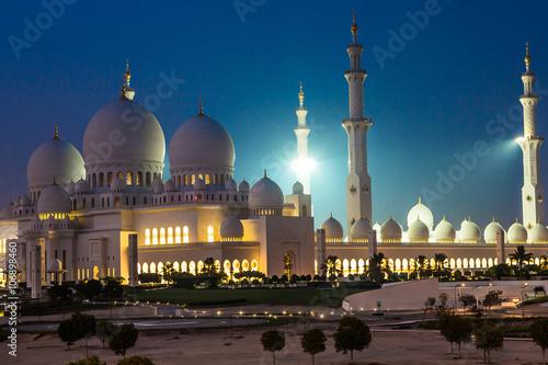In de dag Abu Dhabi Sheikh Zayed Mosque