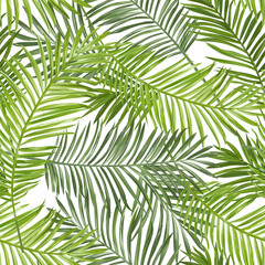 FototapetaSeamless Pattern. Tropical Palm Leaves Background. Vector Background