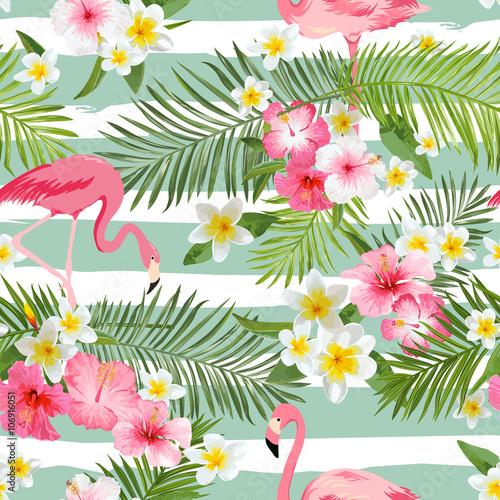 tlo-flamingo-tlo-tropikalnych-kwiatow-vintage-wzor